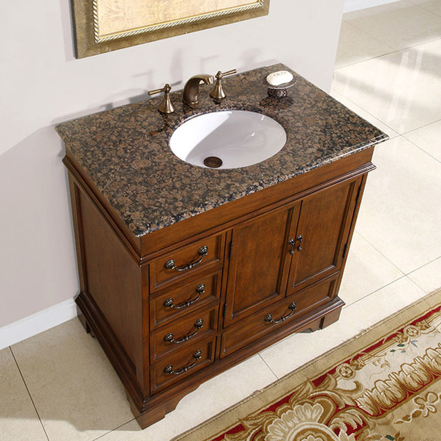 Silkroad Exclusive Riverbank Bathroom Single-sink Vanity contemporary-bathroom-sinks