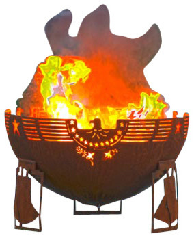 """Freedom Fire 37"""" Fire Pit - Patriotic Firebowl with Liberty Bell Base rustic-fire-pits"""