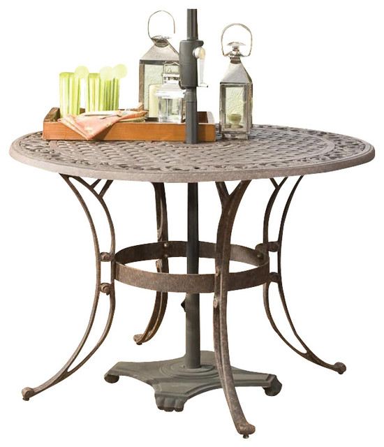 "Home Styles Round Outdoor Dining Table in Rust Brown Finish-42"" Diameter transitional-outdoor-tables"