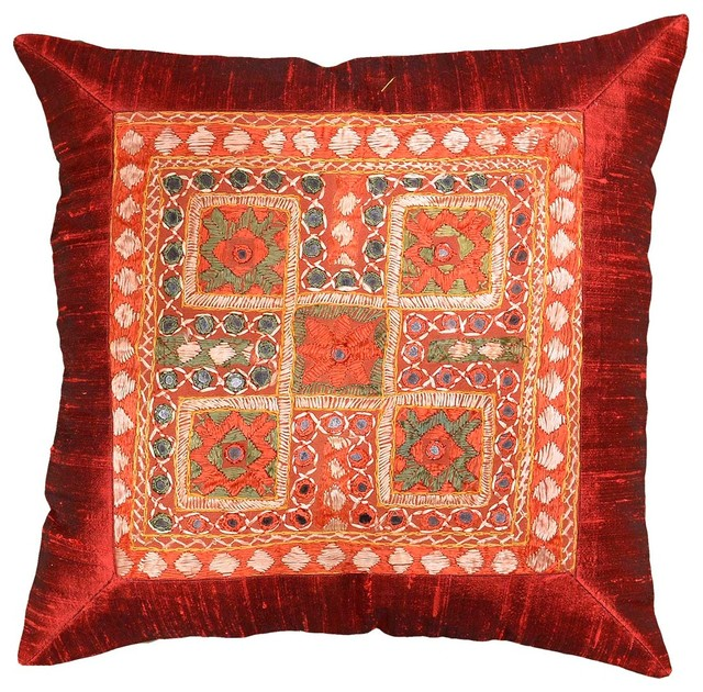 Traditional Sofa Throw Pillows : Silk Red Maroon Accent Sofa Mirror Pillow Cover, 16? X 16? - Traditional - Decorative Pillows ...