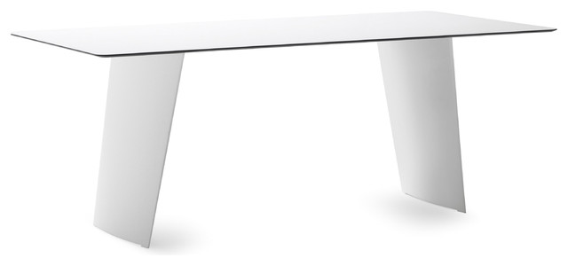Stone t 200 double pedestal rectangular table in white for Domitalia stone t dining table