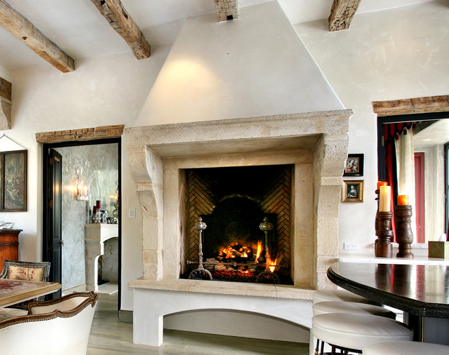 Antique Stone Fireplaces Mediterranean Indoor