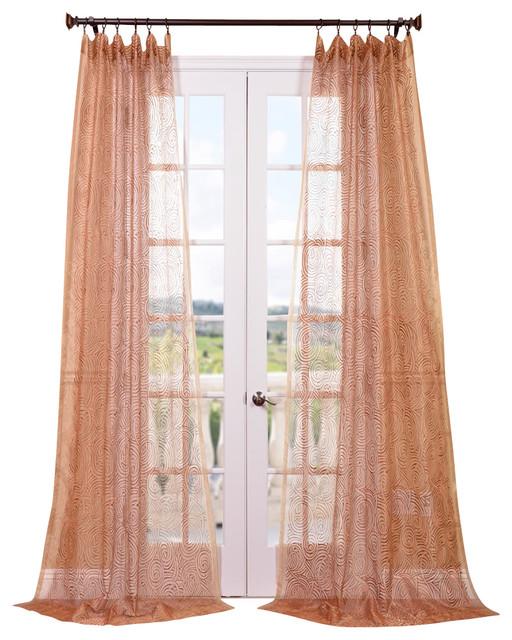 Esparanza Copper Embroidered Sheer Curtain - Contemporary ...