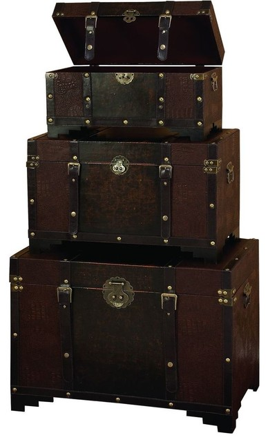 Wood Leather High Utility Trunk - Set of 3 traditional-storage-bins-and-boxes