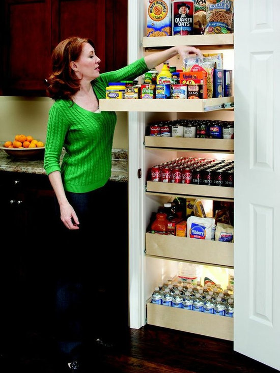 Pull Out Pantry System - Organize your pantry with single-height and double-height pull out shelves for better visibility and easier access to all of your stored items.  Each shelf holds up to 100 pounds, so store your canned foods, baking supplies, rarely used appliances and more.