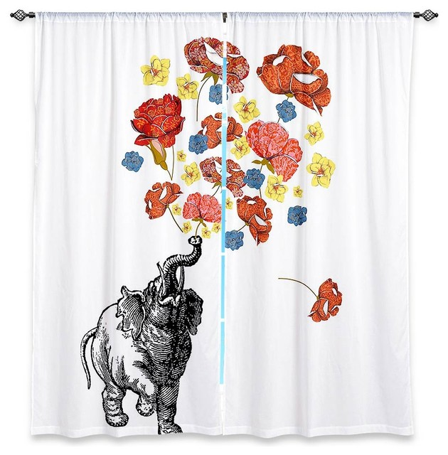 Window Curtains Lined by Marci Cheary Elephant contemporary-curtains