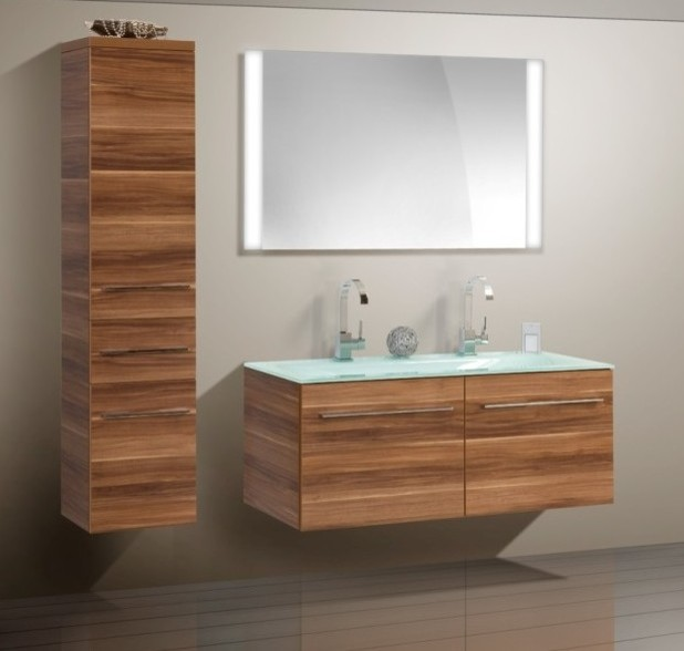 Double sink modern bathroom cabinet with different color for Modern bathroom cabinets ideas