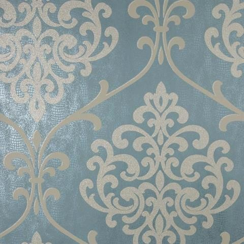 Ambrosia Teal Glitter Damask Wallpaper Contemporary