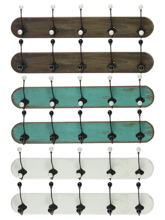 Wood Coat Hangers w/ 5 Hooks Assortment of 6 - Large - *Wood Coat Hangers with 5 Hooks Assortment of 6 LG Assorted Color (Stained Wood Finish x2 Turquoise x2 and White x2)