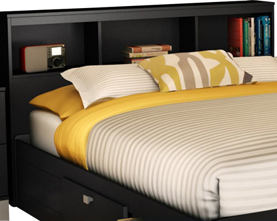 South Shore - South Shore Affinato Full Bookcase Headboard in Solid Black Finish - South Shore - Headboards - 3270093 - With its solid black finish and sleek, simple lines, the South Shore Affinato Bookcase Headboard will enhance any kids bedroom. Available in Full size, this headboard features three open shelves and a wire management hole in the back. Add contemporary charm to your kid's bedroom with the Affinato Bookcase Headboard.