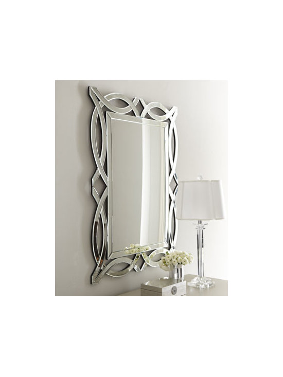 """Horchow - Miramar Figure-8 Mirror - A contemporary design with flowing lines surrounding the inner mirror. Made of wood composite and glass. 32""""W x 0.5""""D x 42""""T. Hooks on back for hanging. Imported. Boxed weight, approximately 34.3 lbs. Please note that this item may require addi..."""