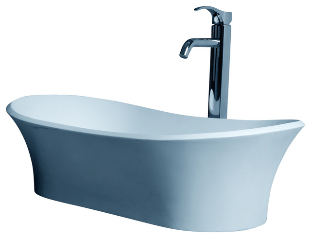 ADM White Solid Surface Stone Resin Counter Top Sink, Glossy contemporary-bathroom-sinks