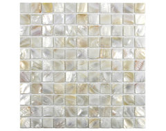 "Cream 1"" x 1"" Pearl Shell Tile contemporary-tile"