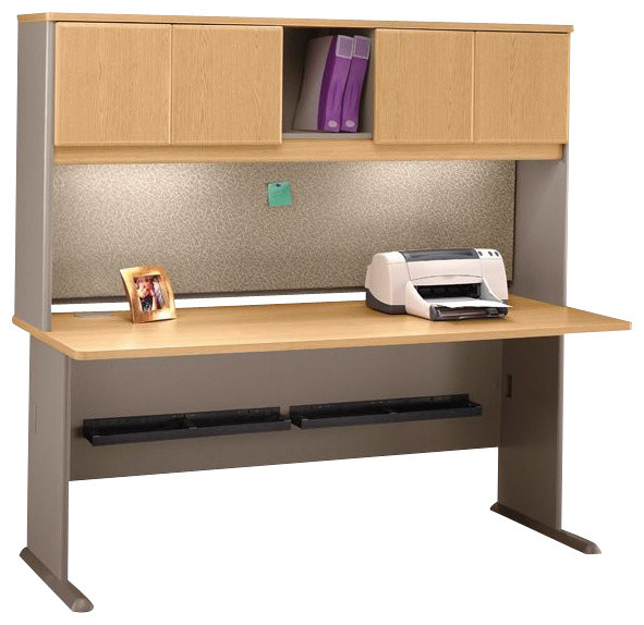 Bush Series A 72 Wood Computer Desk With Hutch In Light