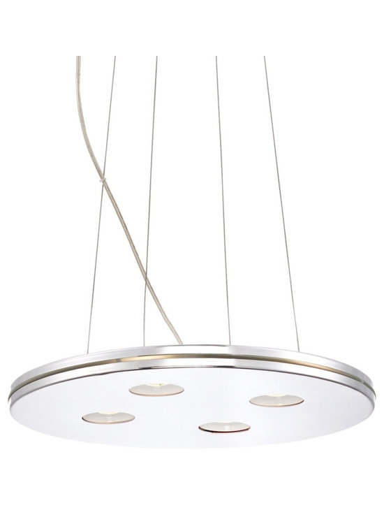 """Possini Euro Design - Possini Euro Lansford 16"""" Wide Chrome LED Pendant Light - Lansford contemporary pendant light. By Possini Euro Design. Clear glass with white metal. Chrome finish. Includes four 5 watt LEDs. Light output is 400 lumens. 2700K color temperature. Includes adjustable cord for hanging. 36 1/4"""" high. 15 3/4"""" wide.  Lansford contemporary pendant light.  By Possini Euro Design.  Clear glass with white metal.  Chrome finish.  Dimmable using an electronic low voltage dimmer or an LED rated dimmer.  Includes four 5 watt LEDs.  Light output is 450 lumens per LED (1800 lumens total).  Total light output comparable to a 125 watt incandescent.  3000K color temperature.  Includes 10-feet of adjustable hanging wire.  Measures 16"""" round 1"""" high.  Canopy is 6"""" wide 3"""" deep.  26.18 lb. hang weight."""