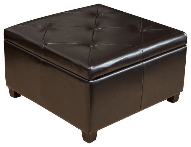 Elegant Brown Leather Storage Ottoman Coffee Table With Tufted Top Contemporary Footstools
