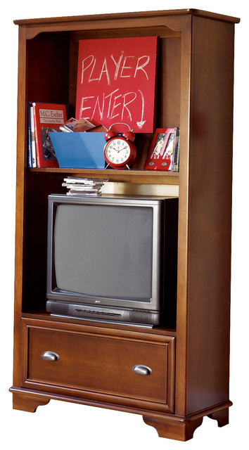 Lea Deer Run TV Cabinet/Bookcase in Brown Cherry - Traditional - Media Storage - by Beyond Stores