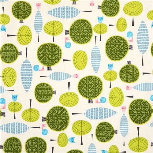 grey fabric with owl snail tree Robert Kaufman kawaii  fabric
