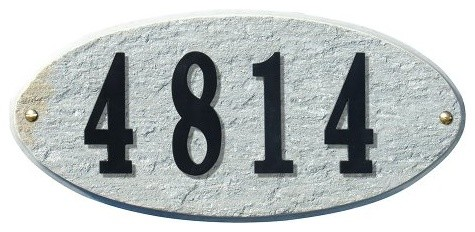 Solid Granite Address Plaque, Rockport Oval, Quartzite modern-house-numbers