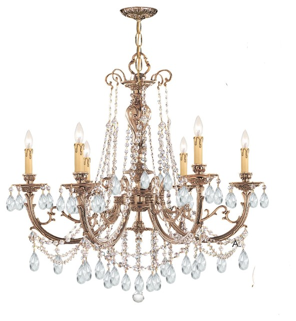 Ornate Cast Brass Chandelier Accented with Swarovski Spectra Crystal modern-chandeliers