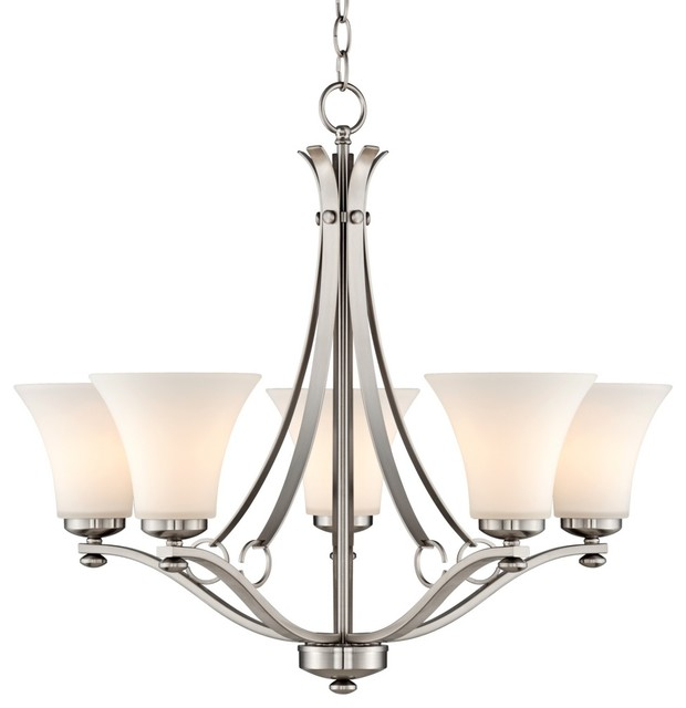 "Contemporary Brushed Nickel White Glass 26 1/2"" Wide 5-Light Chandelier contemporary-chandeliers"