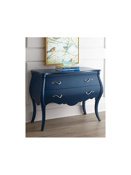 """Hooker Furniture - Hooker Furniture """"Ivy Marie"""" Chest - So simple yet so dramatic, this gorgeous chest features updated bombe styling with graceful curves and an electric-blue finish. We are especially fond of the slightly whimsical drawer pulls. Handcrafted of hardwood solids, veneers, and laminated lumber..."""