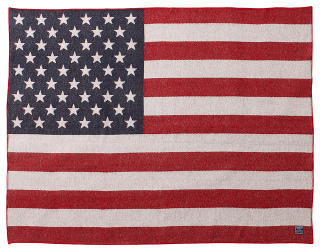 American Flag Wool Throw traditional-throws