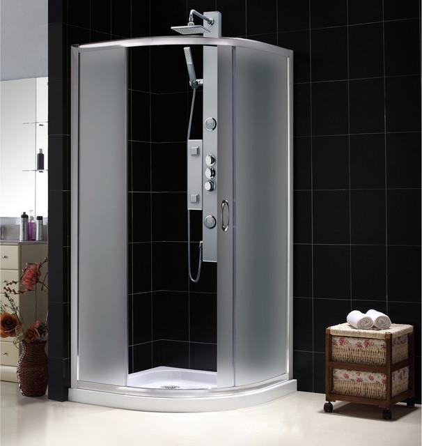 Solo Frameless Sliding Shower Enclosure and Slim Line Quarter Round Shower Base contemporary-showers