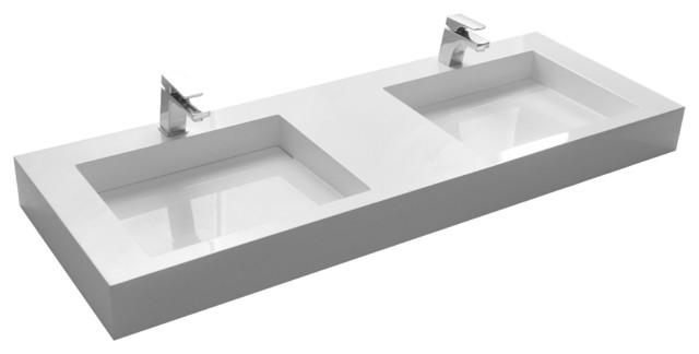 ADM White Wall Hung Stone Resin Sink, Glossy modern-bathroom-sinks