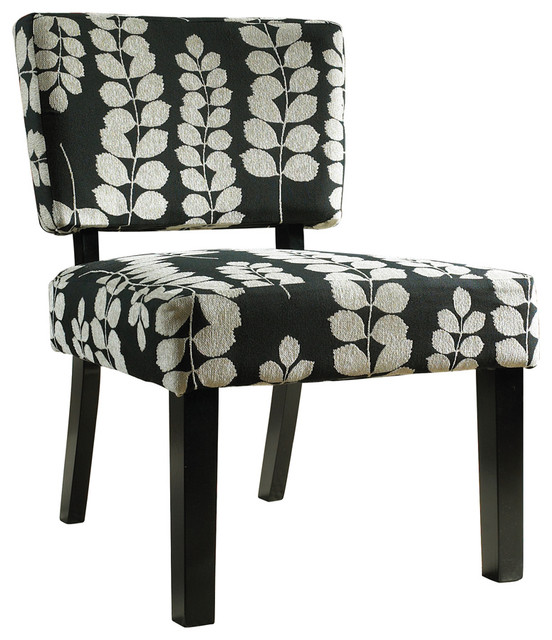 Powell Black and Cream Floral Oliver Accent Chair traditional-living-room-chairs