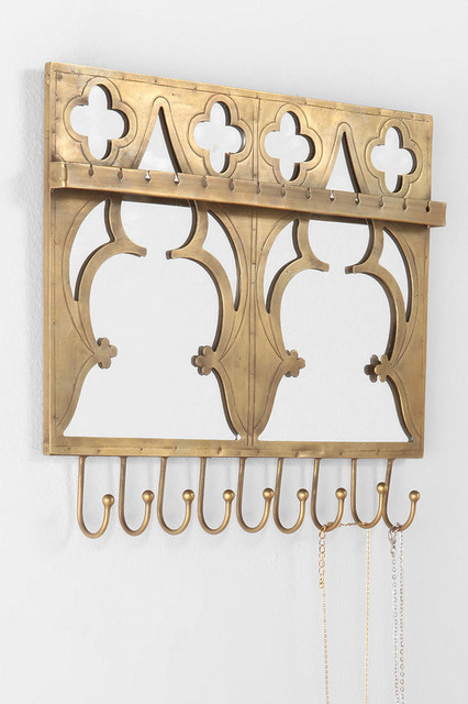Mirrored Jewelry Holder Wall Hook - Urban Outfitters eclectic-hooks-and-hangers