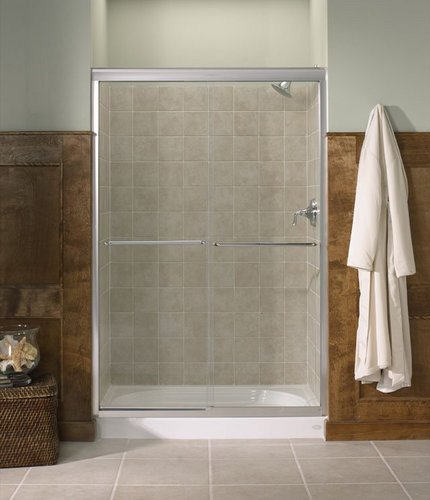 Kohler K-702208-L-MX Matte Nickel Fluence Fluence Frameless Bypass contemporary-showers