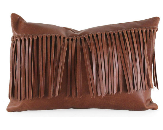 """Pfeifer Studio - Leather Fringe Pillow, 18""""x9"""" - Bring the charm of the Wild West into your interior with this handmade leather fringe pillow. It has a matching leather back, closes with a hidden garment zipper and is fitted with a medium-fill feather and down inner."""