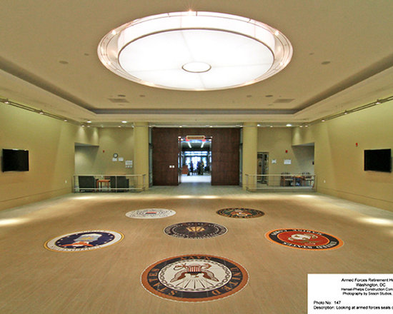 custom-tiles.com - Custom Floor Tile designs and ideas - The five Armed Forces emblems and the Armed Forces Retirement Home logo on custom printed floor tile. Installed in the Hall of Honor, Scott Building, Washington, DC. Photo by Sisson Studios, tiles by custom-tiles.com