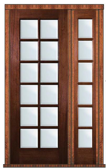 Prehung Patio Sidelite Door 96 Wood Mahogany Full Lite 12 Lite traditional-front-doors