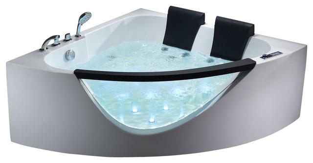 EAGO AM199 5' Rounded Clear Modern Double Seat Corner Whirlpool Bath Tub modern-bathtubs