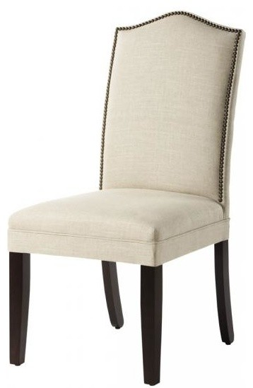 Custom camelback parson 39 s chair with nailhead trim dueck linen contemporary dining chairs - Nailhead dining room chairs ...