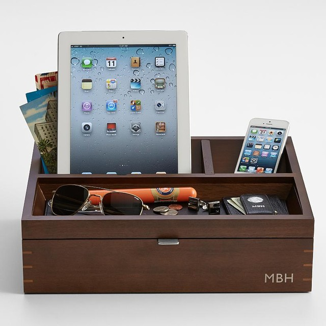 Wood Charging Station Plus Valet Contemporary Charging