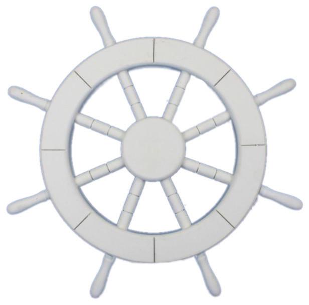 """White Ship Wheel 12"""" - Nautical Ship Wheel tropical-home-decor"""