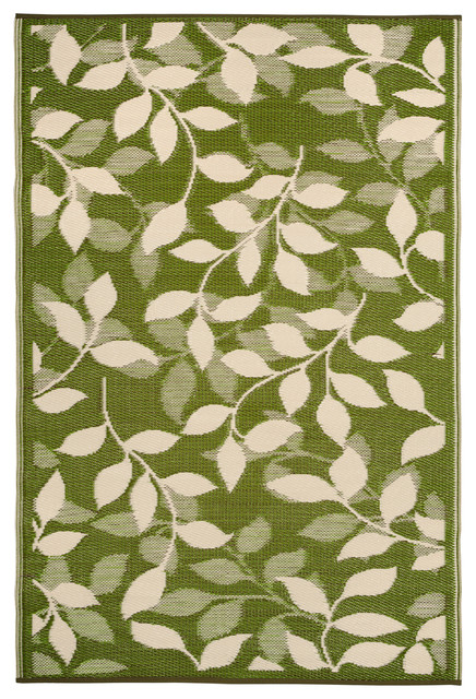 Indoor/Outdoor Bali Rug, Forest Green & Cream, 6x9 traditional-outdoor-rugs