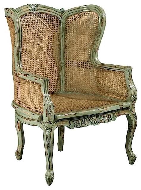 Furniture Classics Antique Green Louis Xv Bergre Chair