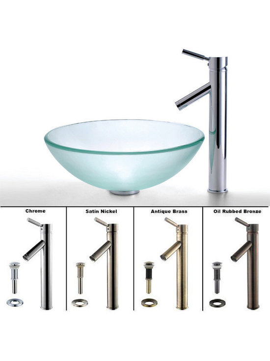 """Kraus - Kraus C-GV-101FR-12mm-1002CH Frosted Glass Vessel Sink and Sheven Faucet - """"Add a touch of elegance to your bathroom with a glass sink combo from Kraus"""