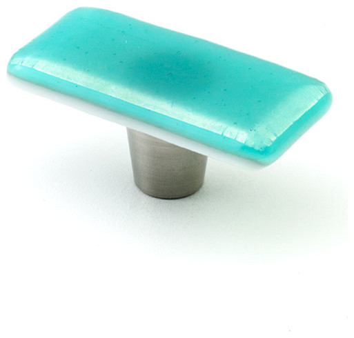Iridescent glass knobs and pulls turquoise 1 x 2 for Turquoise cabinet pulls