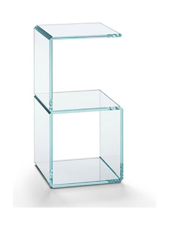 #Six - Digit Glass Side Table - Digit side table is an extra clear or transparent glass unit forming numbers that appear just like digital number displays. You can combine several standard size Digit elements to create different units, such as coffee tables, side tables, and shelves. The glass pieces are precision cut and bonded together.