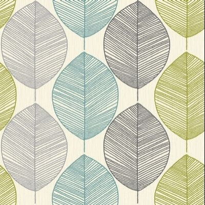 Retro leaf teal green wallpaper by wallpaperdirect for Lime kitchen wallpaper