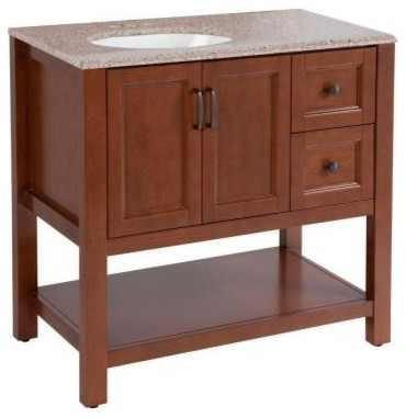 Home Decorators Collection Catalina 36-1/2 in. Bathroom Vanity in Amber with Sto contemporary-bathroom-vanities-and-sink-consoles