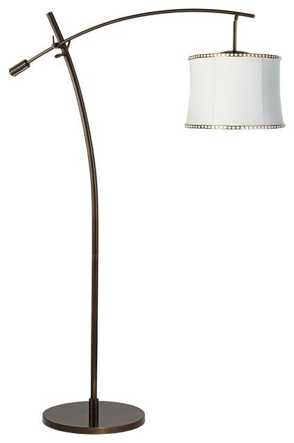 gold trim white shade balance arm arc floor lamp contemporary floor. Black Bedroom Furniture Sets. Home Design Ideas