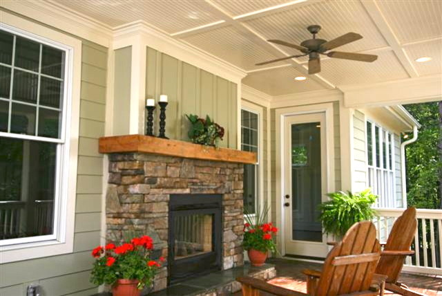 Outdoor Fireplace See Through traditional porch
