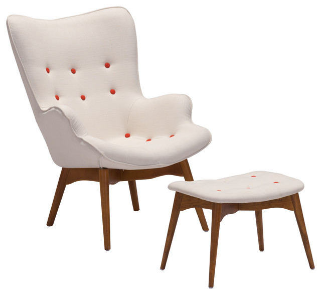 Antwerp Occasional Chair And Ottoman Cream Contemporary