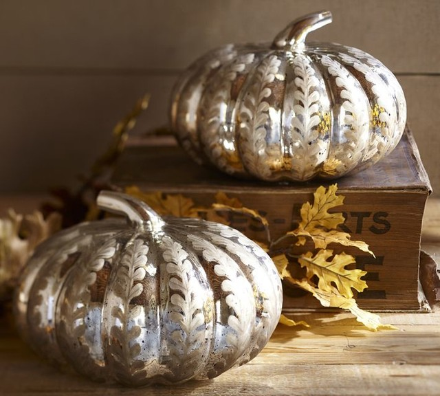 Etched Antique Mercury Glass Pumpkin Contemporary